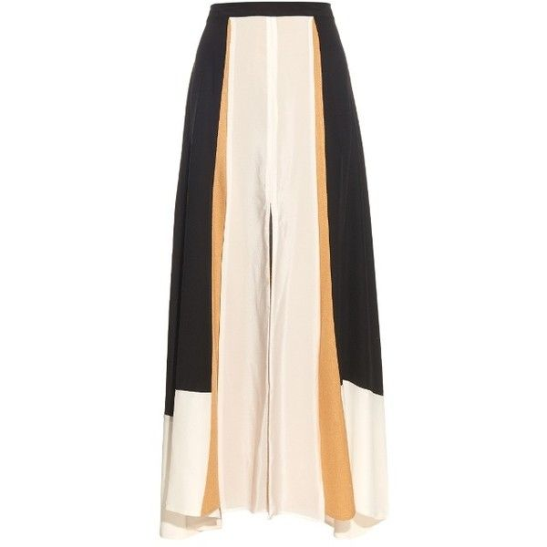 Zeus + Dione Eresos silk maxi skirt ($302) ❤ liked on Polyvore featuring skirts, saias, black, maxi skirt, slit skirt, floor length skirt, color block maxi skirt and color block skirt