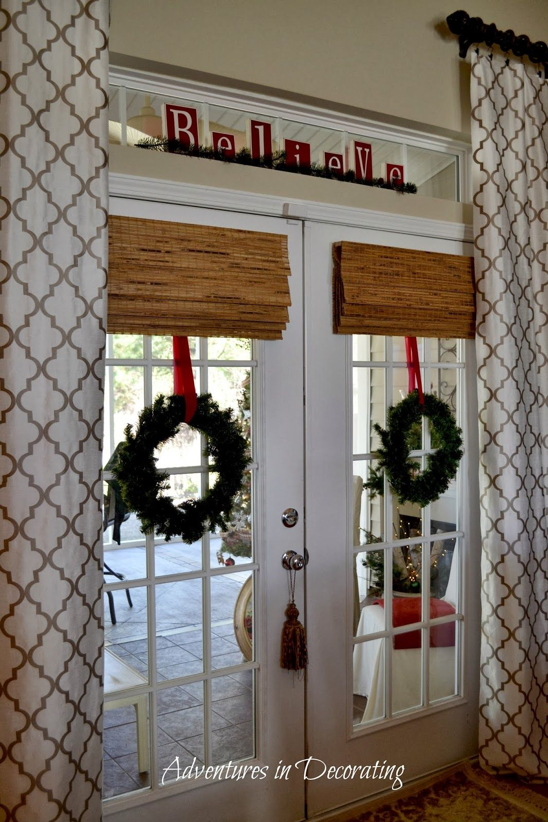 Adventures In Decorating Our Christmas Great Room And Kitchen French Door Decor Door