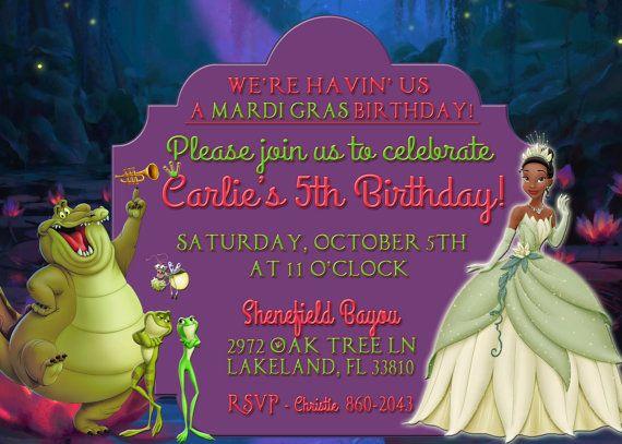 Princess and the Frog Princess Tiana Birthday Invitation on Etsy – Princess Tiana Birthday Invitations