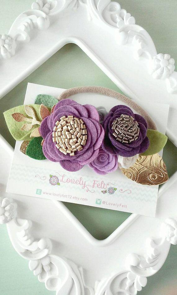 Floral Felt Headband - 3D Flower Crown Plum Tones, Ivory and Gray on nude nylon band - Purple Tones Felt Flower Crown Headband -Floral Crown