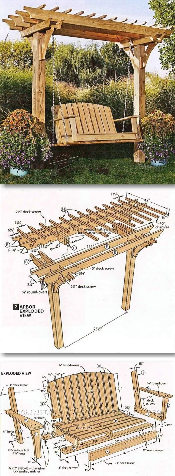arbor swing plans outdoor furniture plans projects woodworking outdoor projects. Black Bedroom Furniture Sets. Home Design Ideas