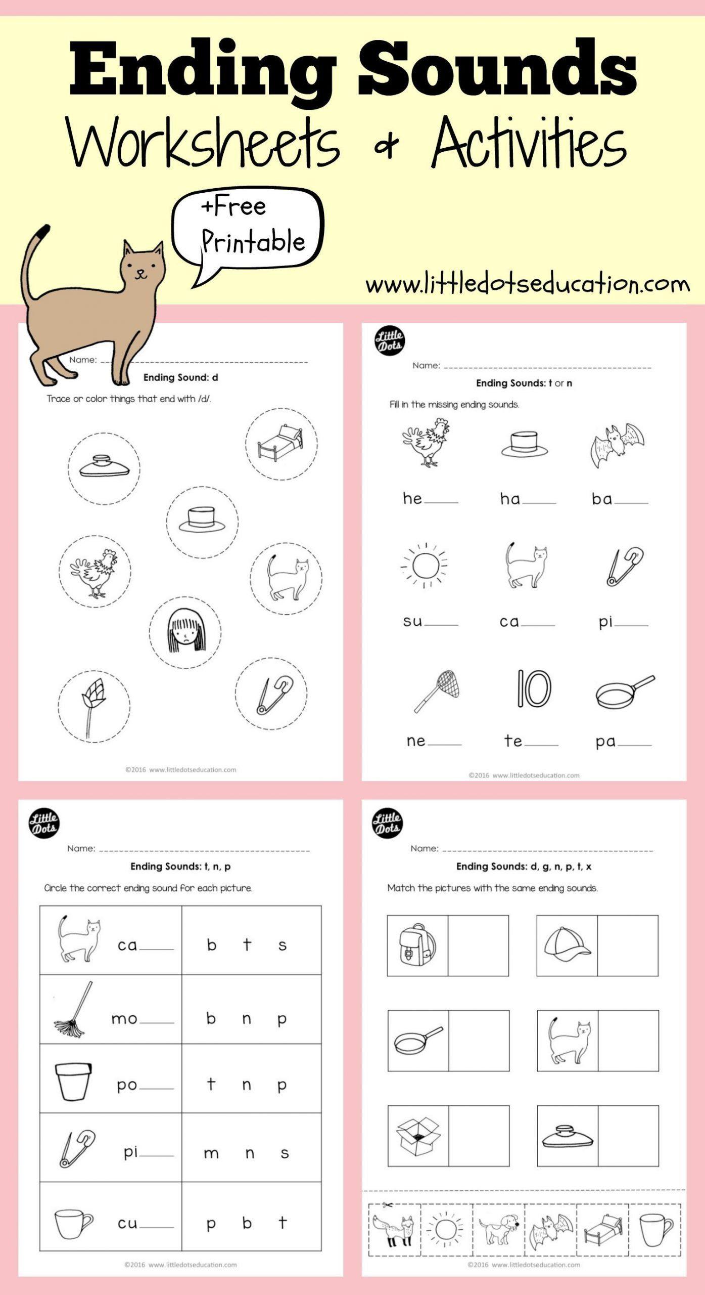 Ending Sounds Worksheets For Kindergarten Ending Sounds