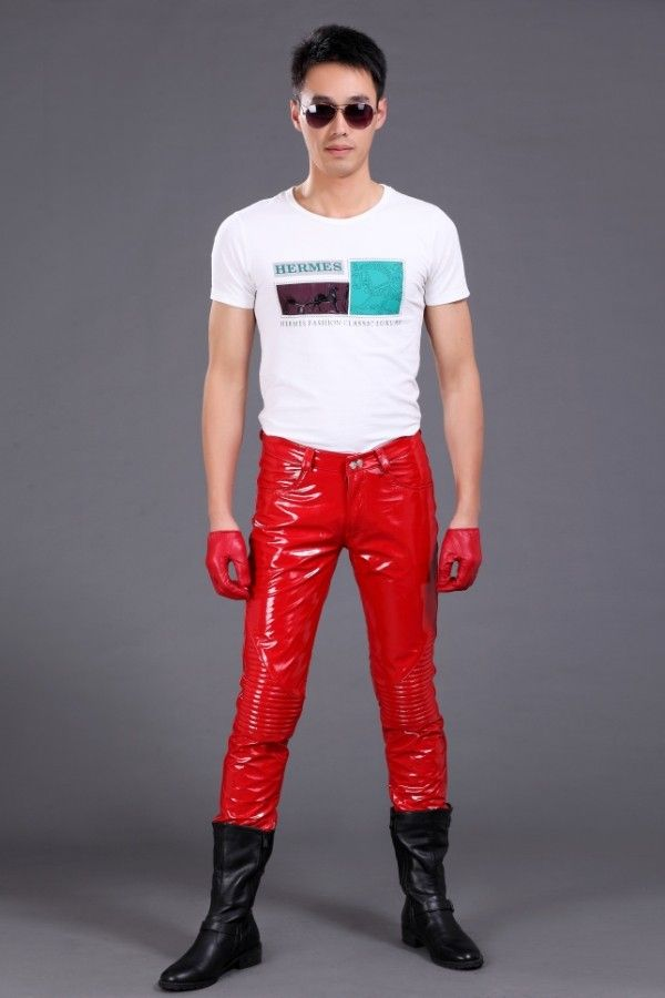 Fashion men genuine leather bright japanned leather pants   Red ... f4b4f39ed3
