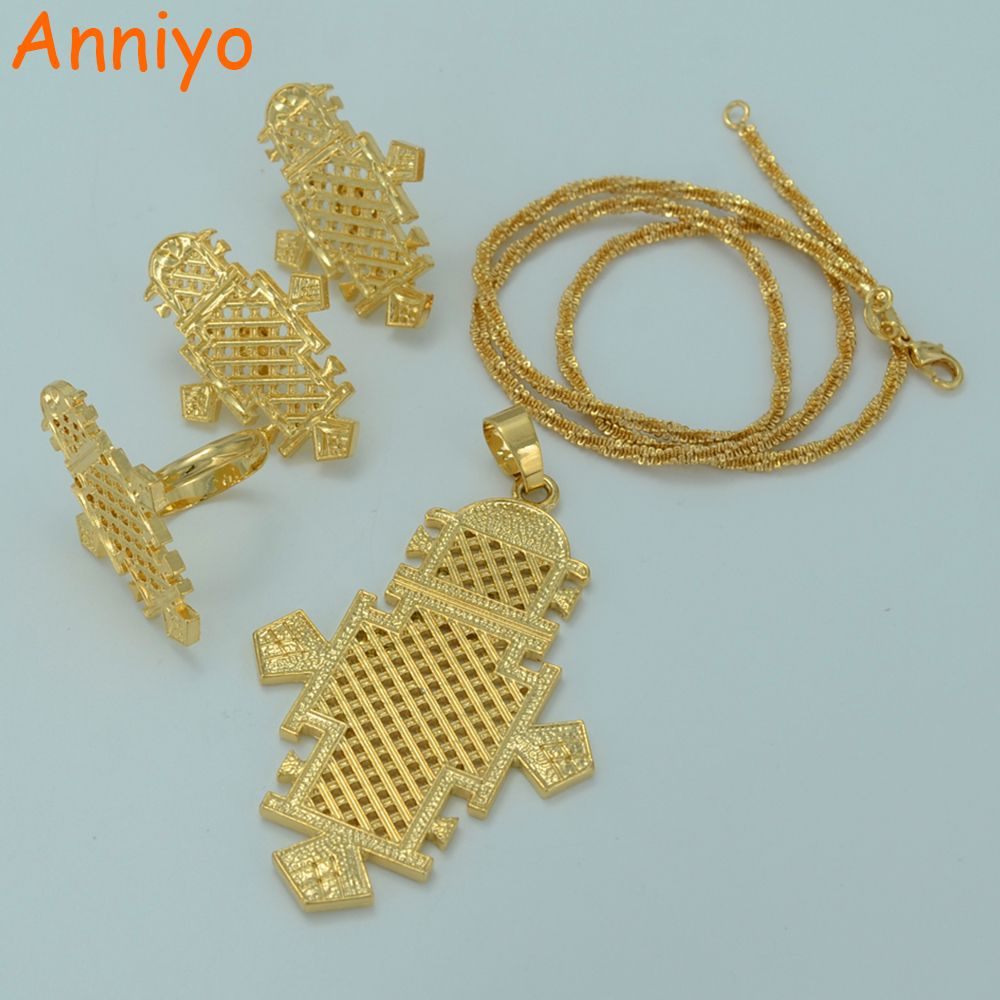 Anniyo New Ethiopian Cross Jewelry Sets Gold Color Eritrea ...