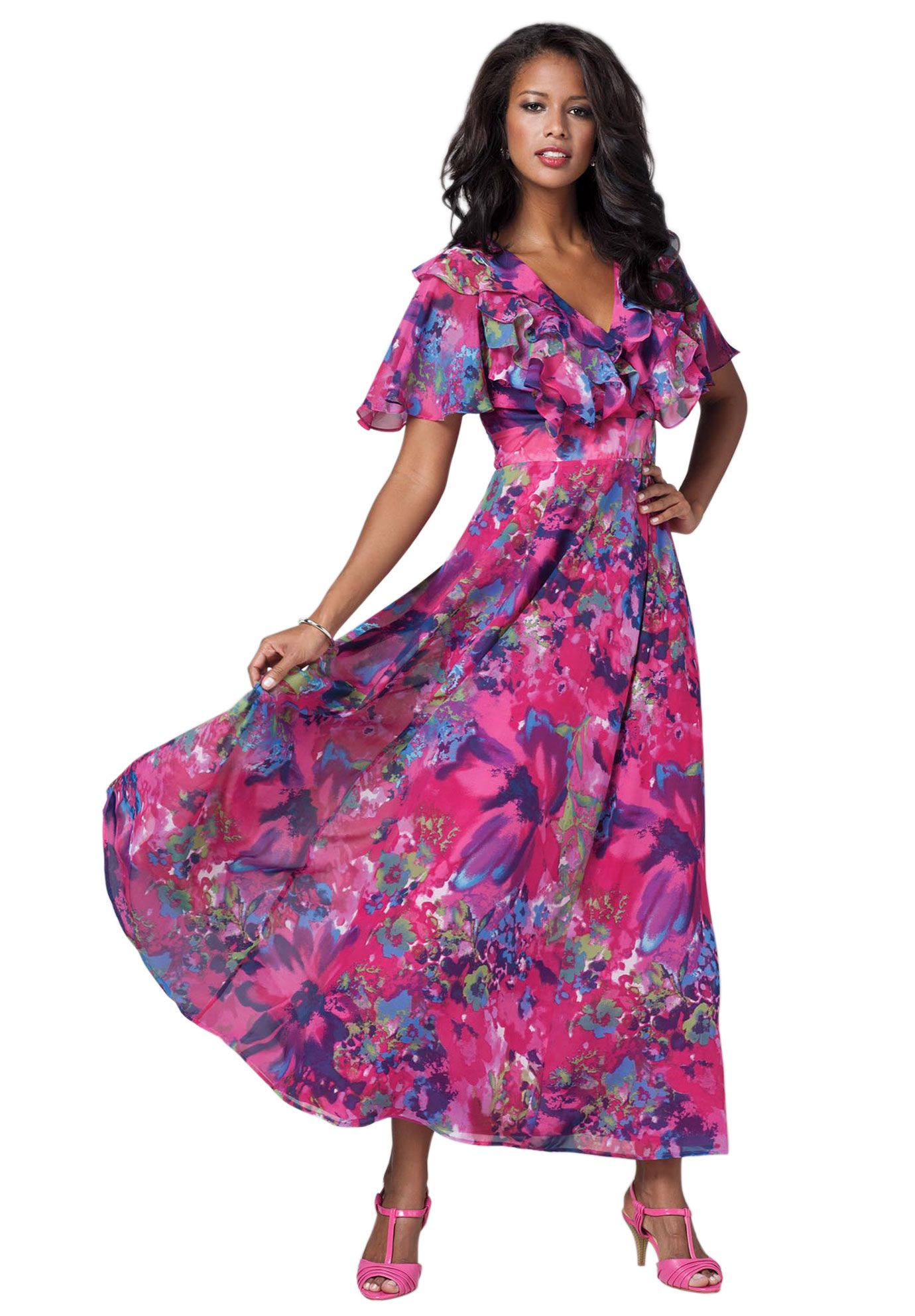 Empire Floral Print Gown Plus Size Dresses And Skirts Roamans