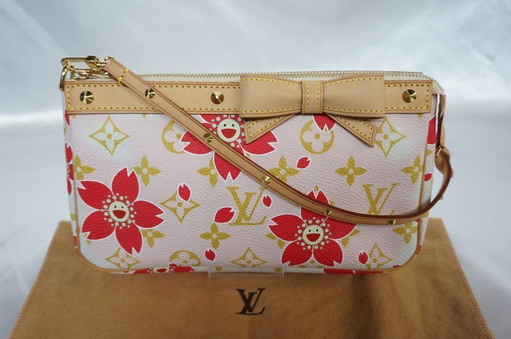 Japanese Takashi Murakami Louis Vuitton Monogram Flower Pochette Accessory Bag Bolso