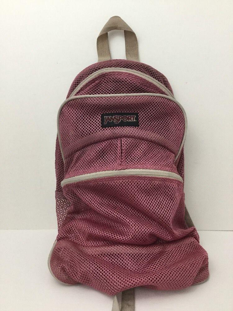 JanSport Pink Mesh Backpack See Through Net Gym Sports Bag ...