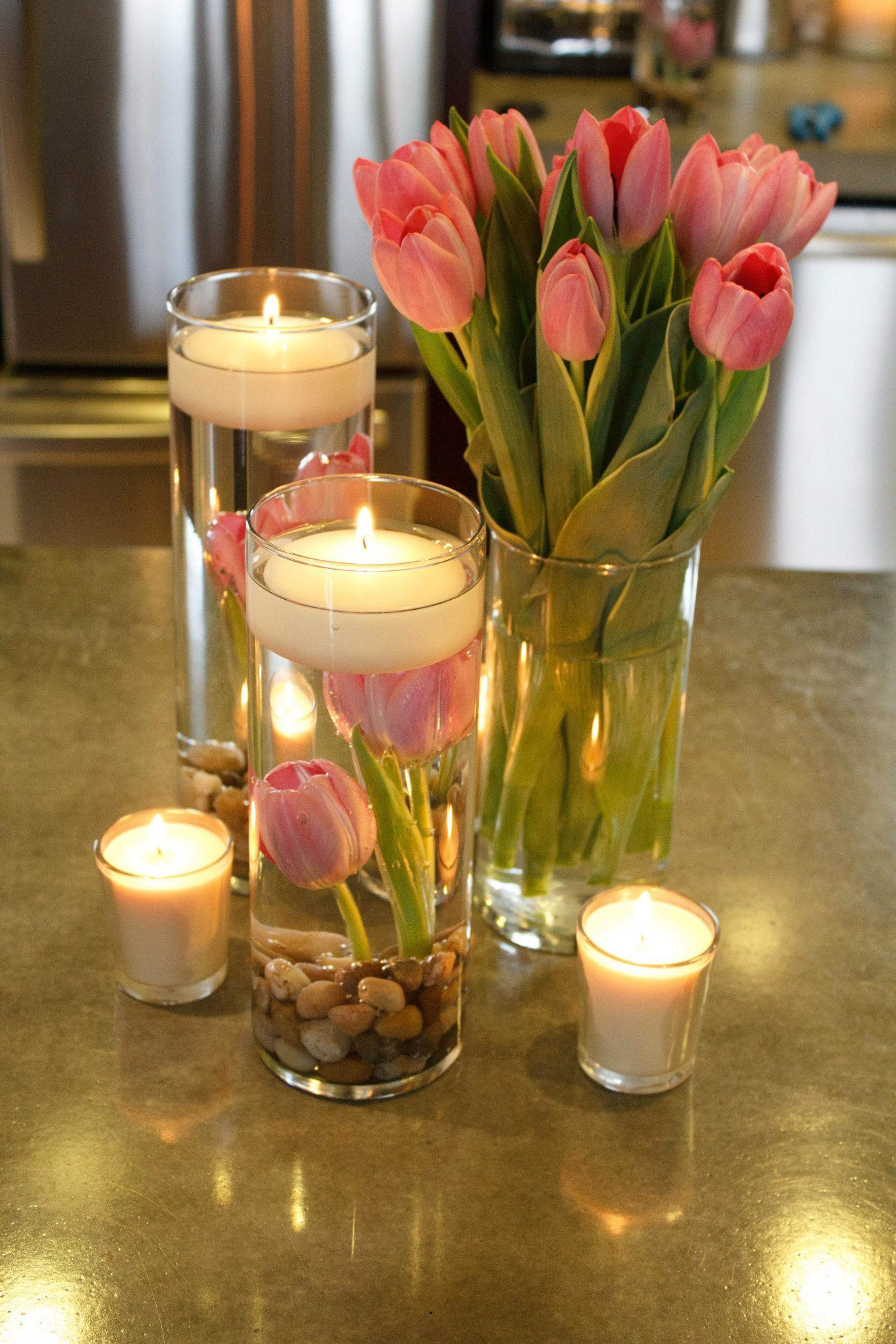 Floating Candle With Tulips Centerpiece Cheap Wedding