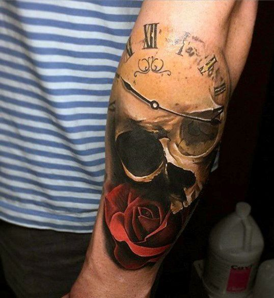 Black And Gray Clock And Skull Tattoos On Bicep: 80 Clock Tattoo Designs For Men