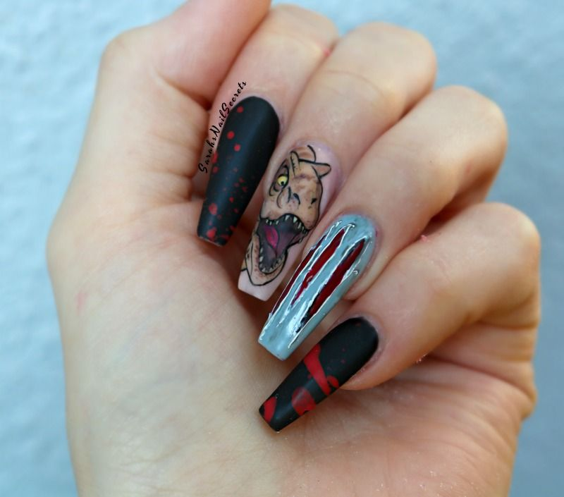 t-rex jurassic park nails hand painted and texture scratch | Nail ...
