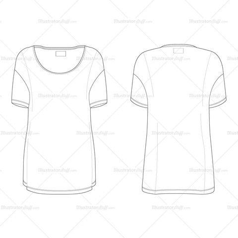 Women's Oversized T-shirt Fashion Flat Template