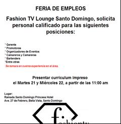 Fashion TV Lounge Santo Domingo, solicita personal calificado - Publicidad