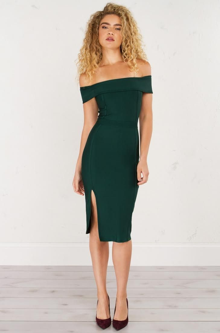 48c3d14bfbd7 AKIRA Off The Shoulder BodyCon Dress in Hunter Green and Dark Mauve ...