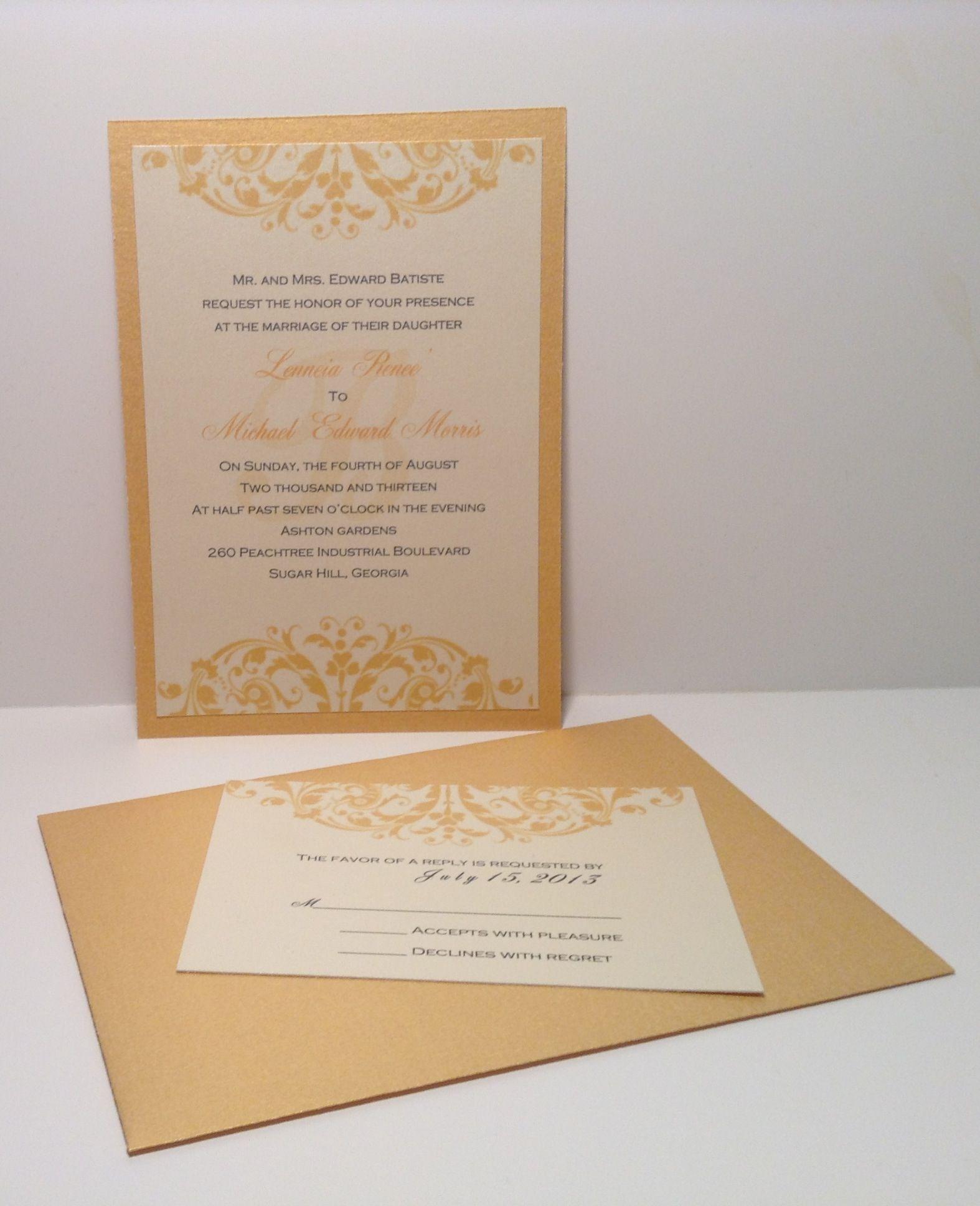 Cream And Gold Wedding Layered Wedding Invitations Beautiful