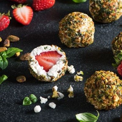 Pistachio Goat Cheese Strawberry Balls - Woolwich Dairy