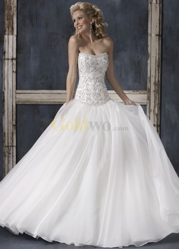[US$229.99] White Ball Gown Strapless Cathedral Train Satin Organza Wedding Gown