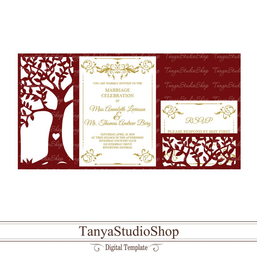 Wedding invitation template - SVG, DXF, ai, CRD, eps - Laser Paper ...