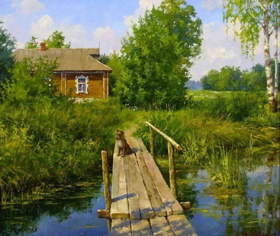 Картинки деревенские пейзажи летом, гиф старый новый