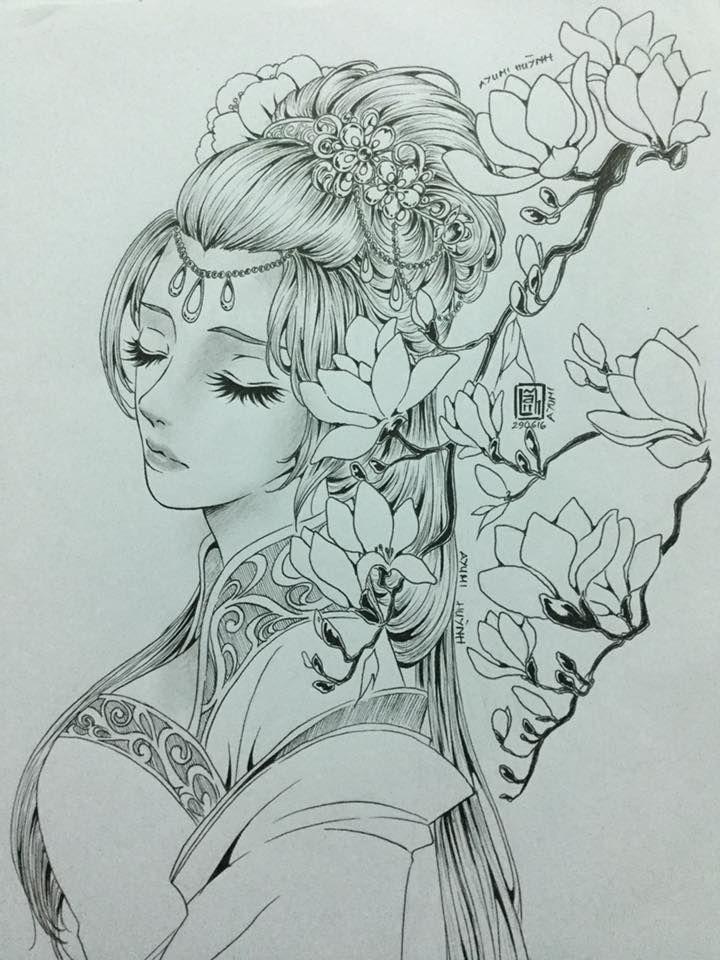 13495308 911330455643825 3363468232209781861 N By Ayumi Usagi Huynh Girl Drawing Sketches Japanese Tattoo Art Anime Drawings