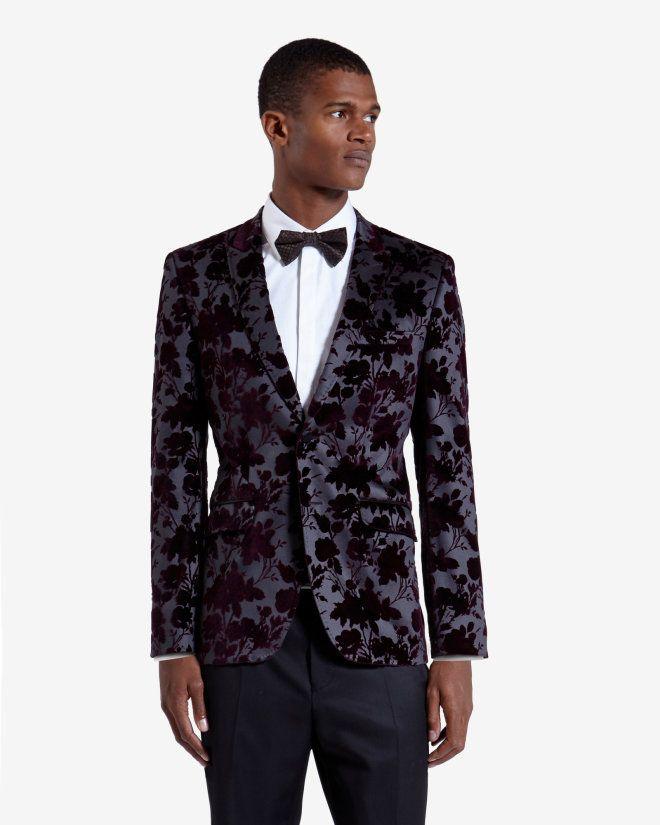 Velvet floral-detail blazer - Maroon | Blazers | Ted Baker UK ...