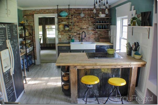 Kitchen Makeover - The Reveal   Frugal, Kitchens and Sinks on brick style backsplash, brick paver backsplash, brick pattern backsplash,