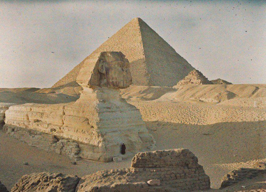 Das alte Ägypten: Cheopspyramide und Sphinx am 6. Januar 1914. Ägypten stand...