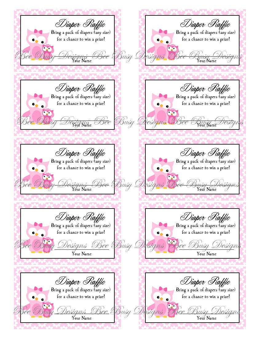 Printable Pink Mom With Little Girl Owl Diaper Raffle Tickets Bee