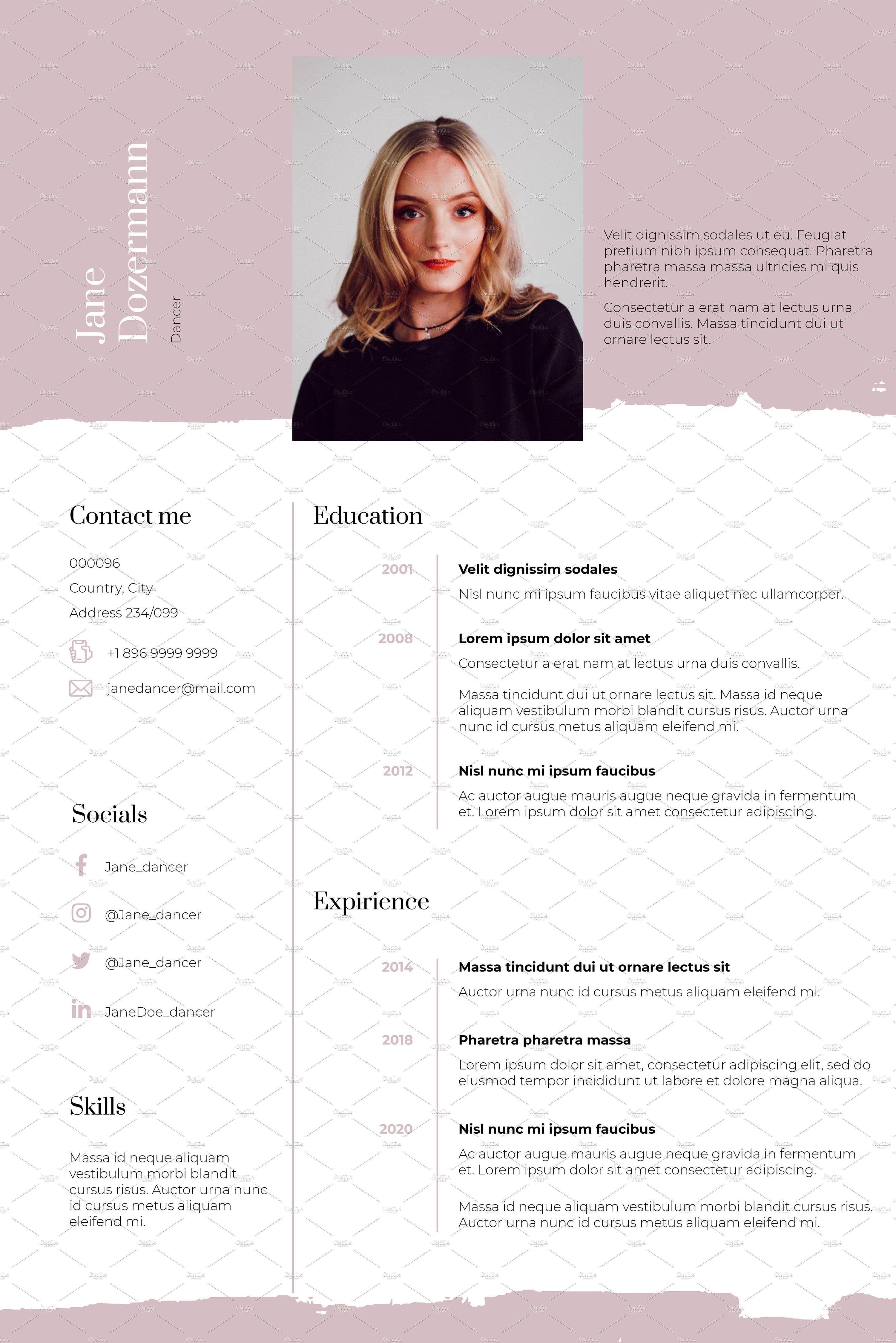 Dance resume template pink clean in 2020 dance resume