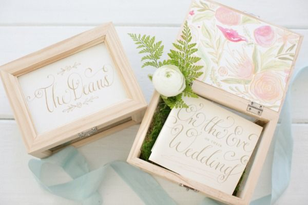 wedding calligraphy ring boxes