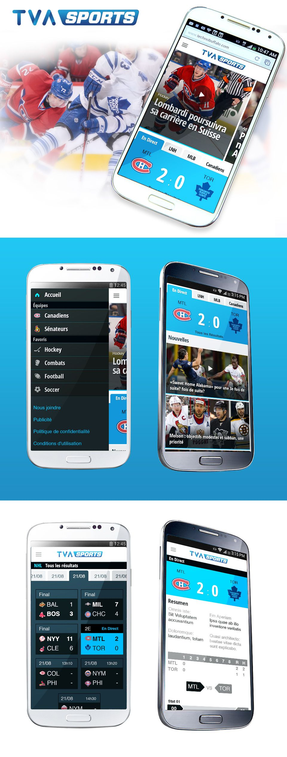 TVA Sports Site Mobile Sports sites, Sports, Mobile