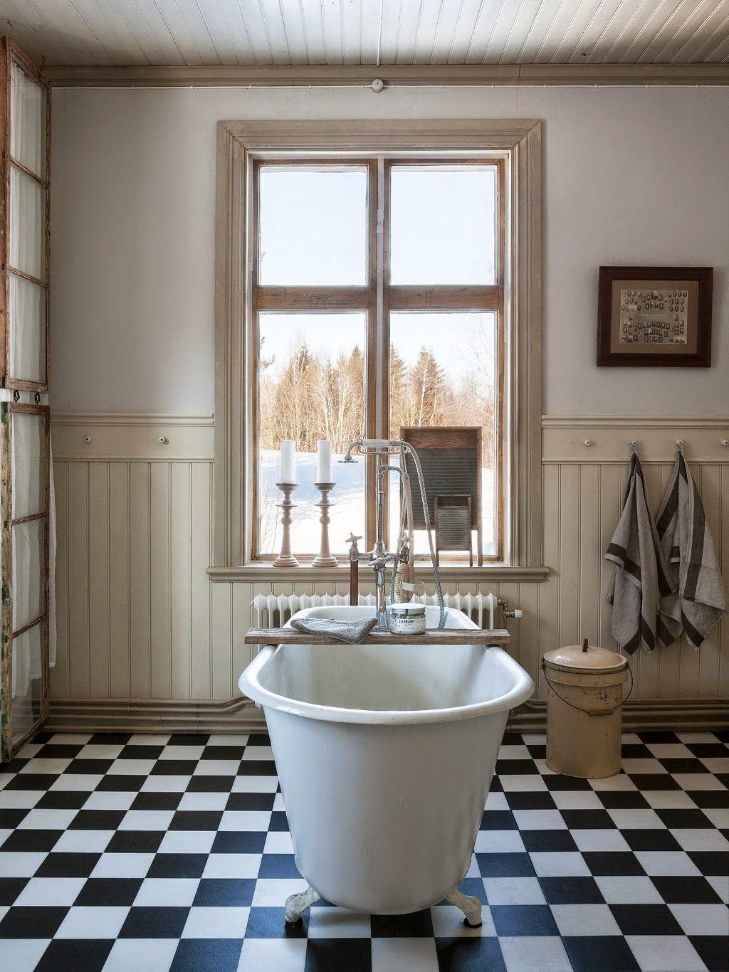 Vintage Una reforma de baño en estilo vintage rústico ...