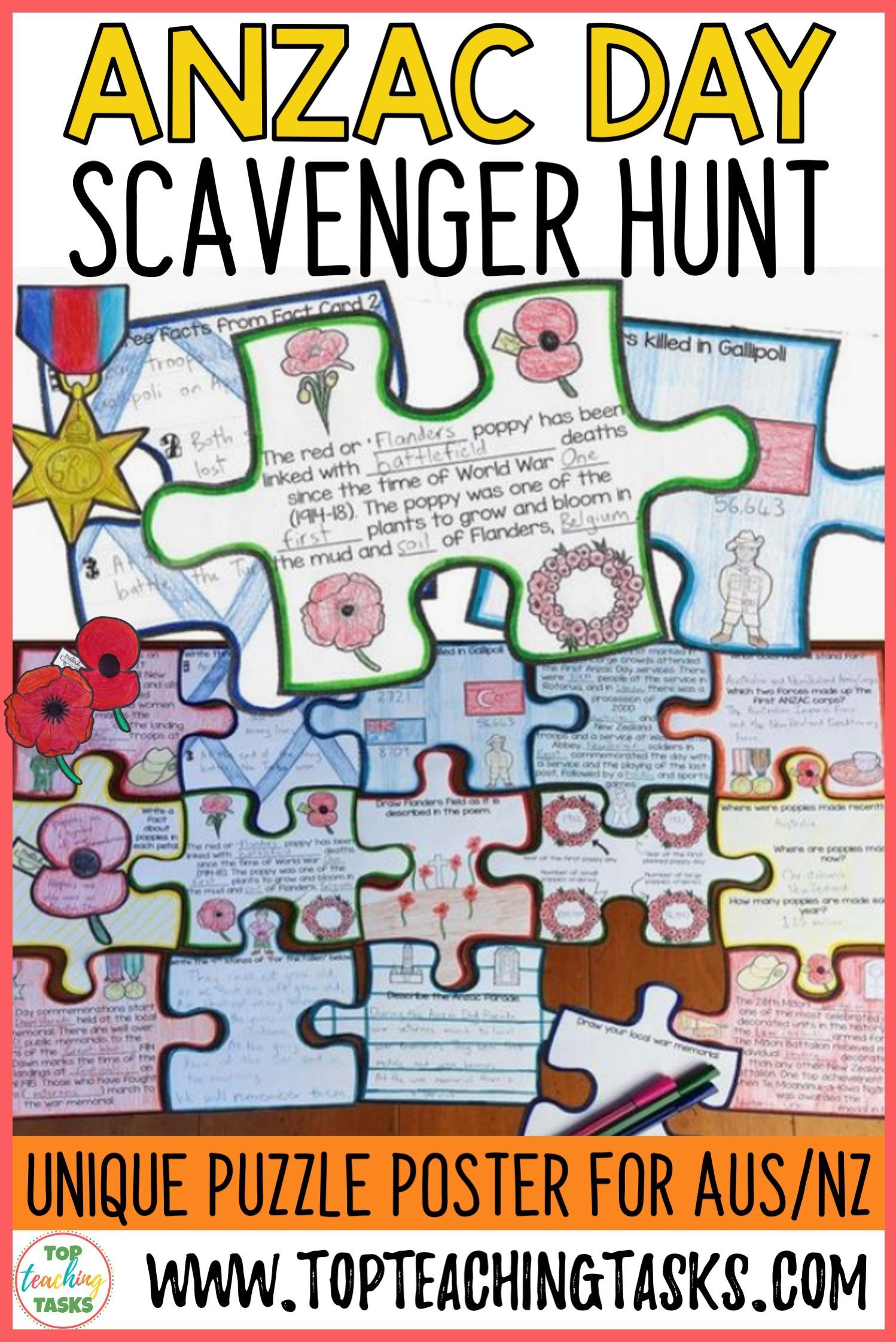 Anzac day scavenger hunt reading puzzle in 2020 anzac