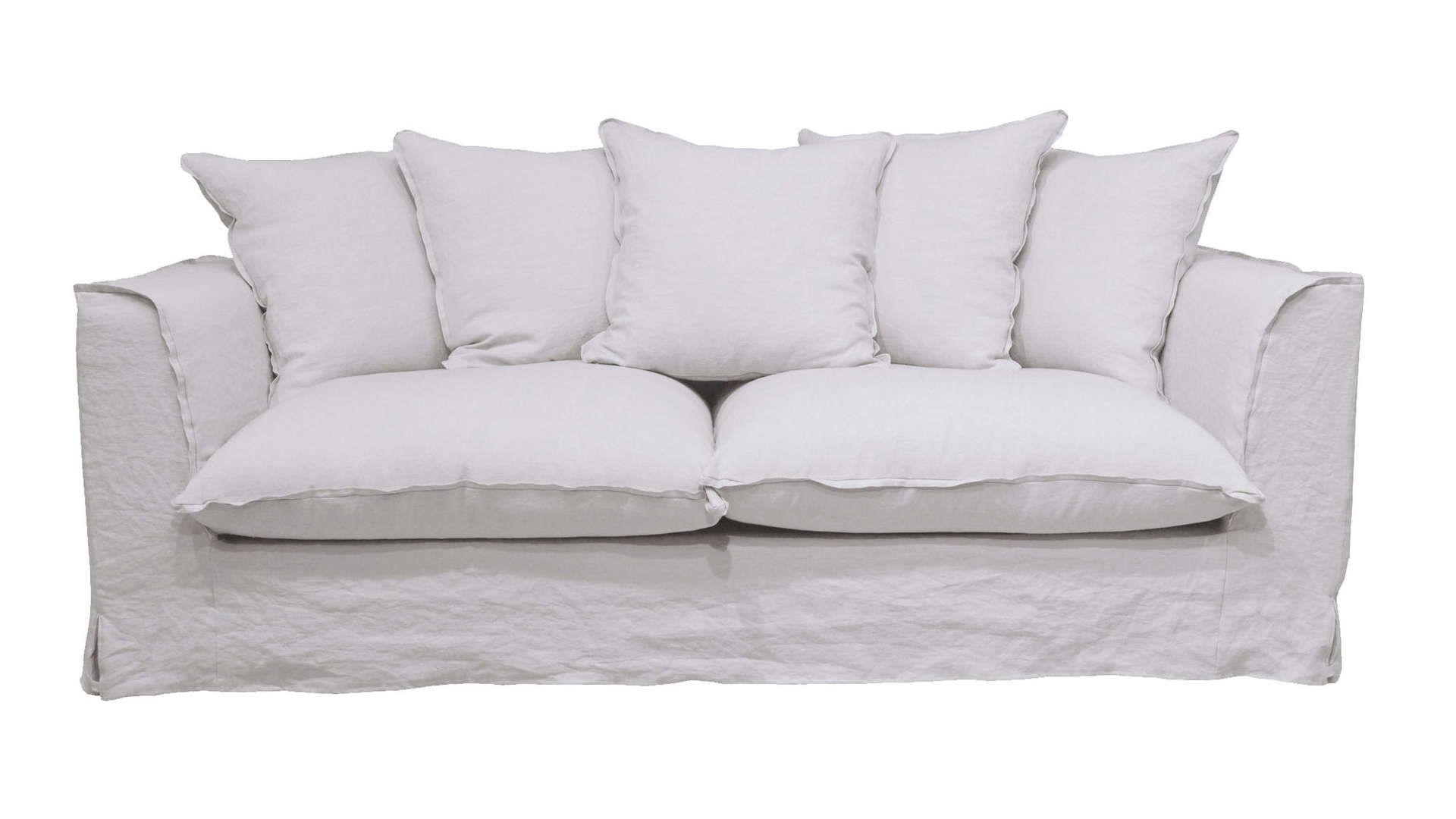 Canape Fixe 3 Places En Tissu Cocoon Coloris Blanc Canape Fixe Canape Fixe 3 Places Canape Droit