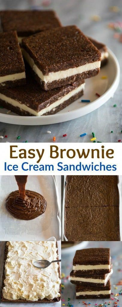 Ice Cream Sandwiches made with brownies on the outside and ice cream in the center! These are an ea