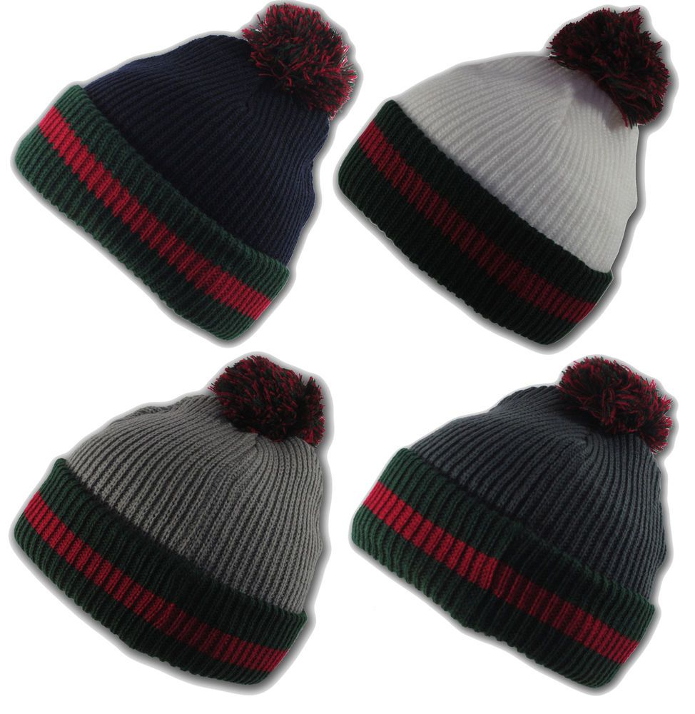 4648f03c361b47 Gucci style State Property Designer Style Green Red Straight Knit Winter  Beanie Bobble Hat