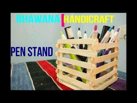 Diy How To Make Mobile Phone And Pen Stand Using Ice Cream Sticks
