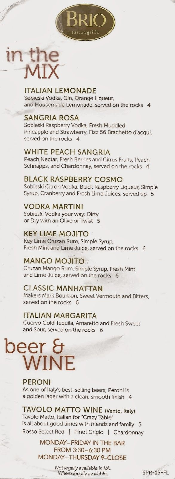 Brio Tivoli Village Happy Hour Menu Southwest Florida Forks Happy Hour At Brio Tuscan Grille Drinks