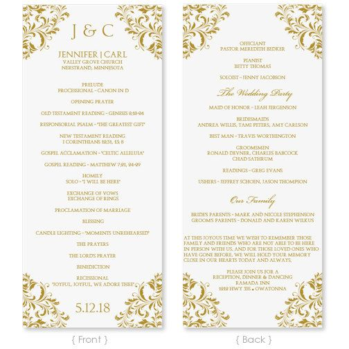 Wedding Program Template  Instant Download  Edit Your Wording