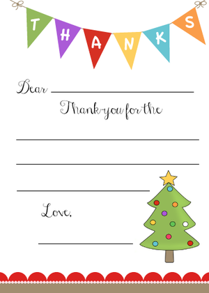 KidS Christmas ThankYou Note Free Printable  Christmas