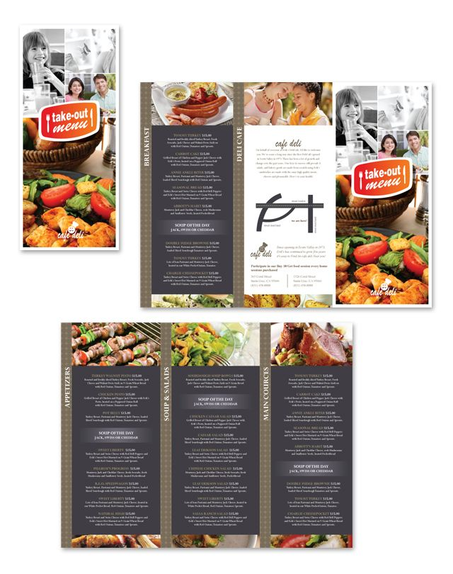 New cafe deli take out tri fold menu template graphic design pinterest what39s the menu for Take out menu template