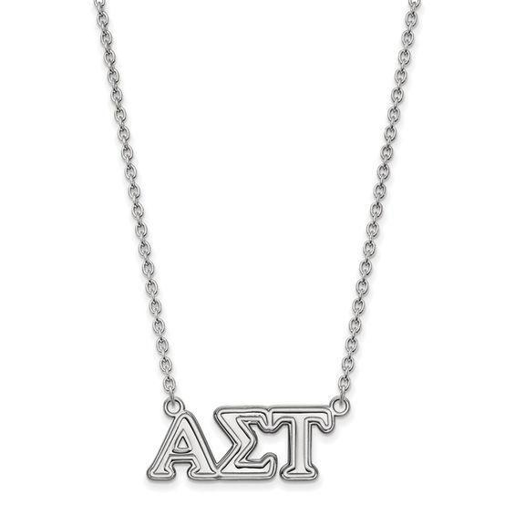 Zales Black Enamel Sigma Delta Tau Sorority Necklace in Sterling Silver ExJb0H