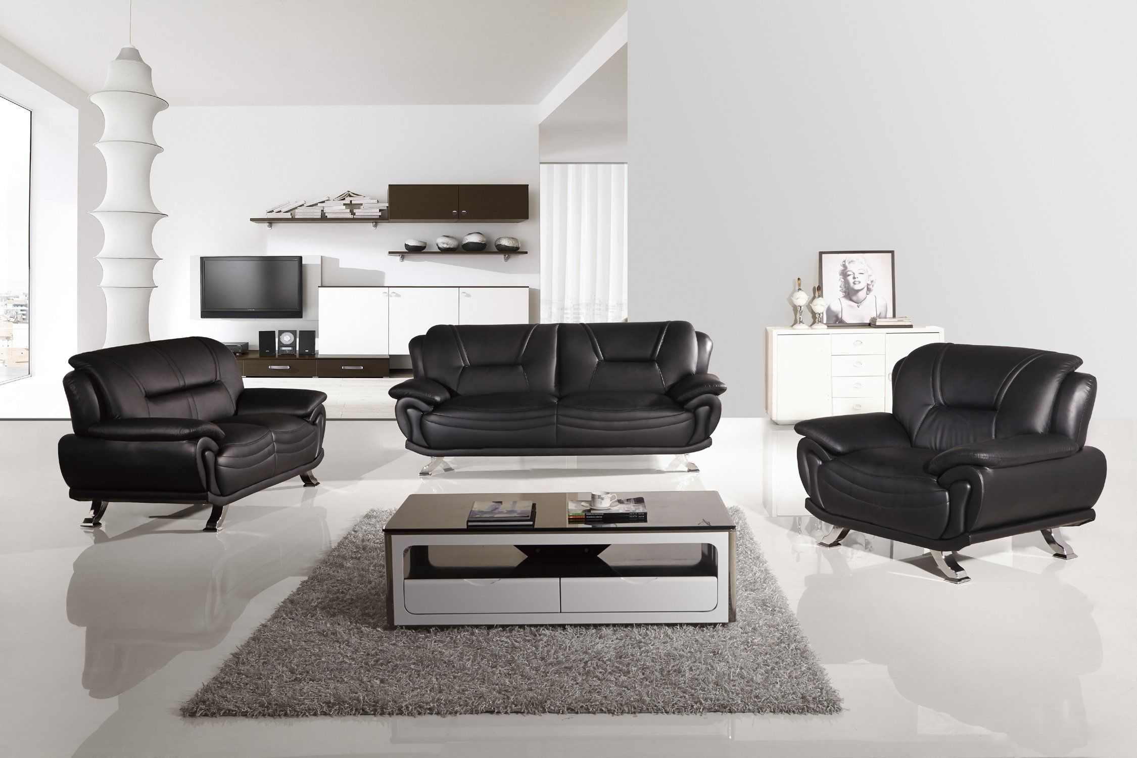 Fantastic American Eagle Ae388 B Modern 3Pcs Black Leather Sofa Set In Gmtry Best Dining Table And Chair Ideas Images Gmtryco
