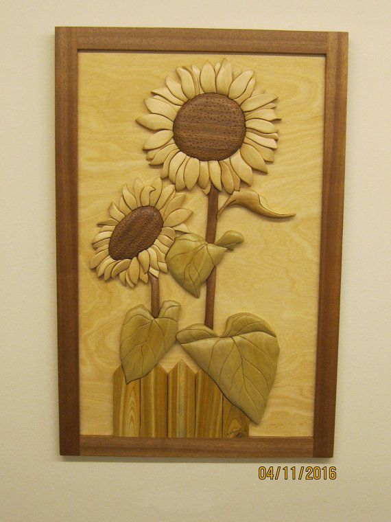SUNFLOWERS TWO 16, realistic Intarsia carved flowers by Rakowoods ...