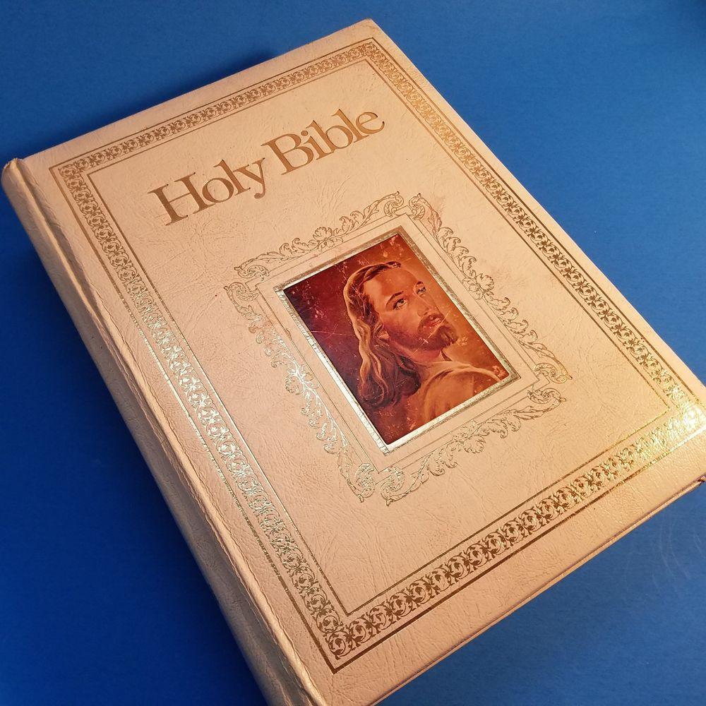 Vintage 1978 White Holy Bible King James Version Red