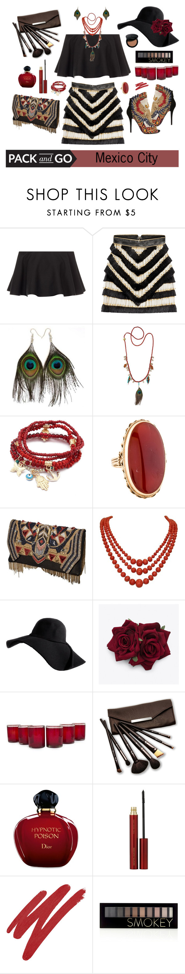 """Mexico City - 210416"" by vixen-vixen ❤ liked on Polyvore featuring Rosetta Getty, Balmain, Hipanema, Chicnova Fashion, NOVICA, Borghese, Christian Dior, Kevyn Aucoin, NARS Cosmetics and Forever 21"