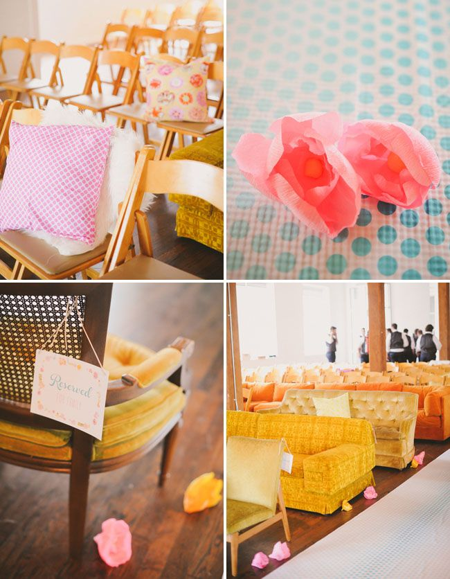 vintage couches for ceremony seating