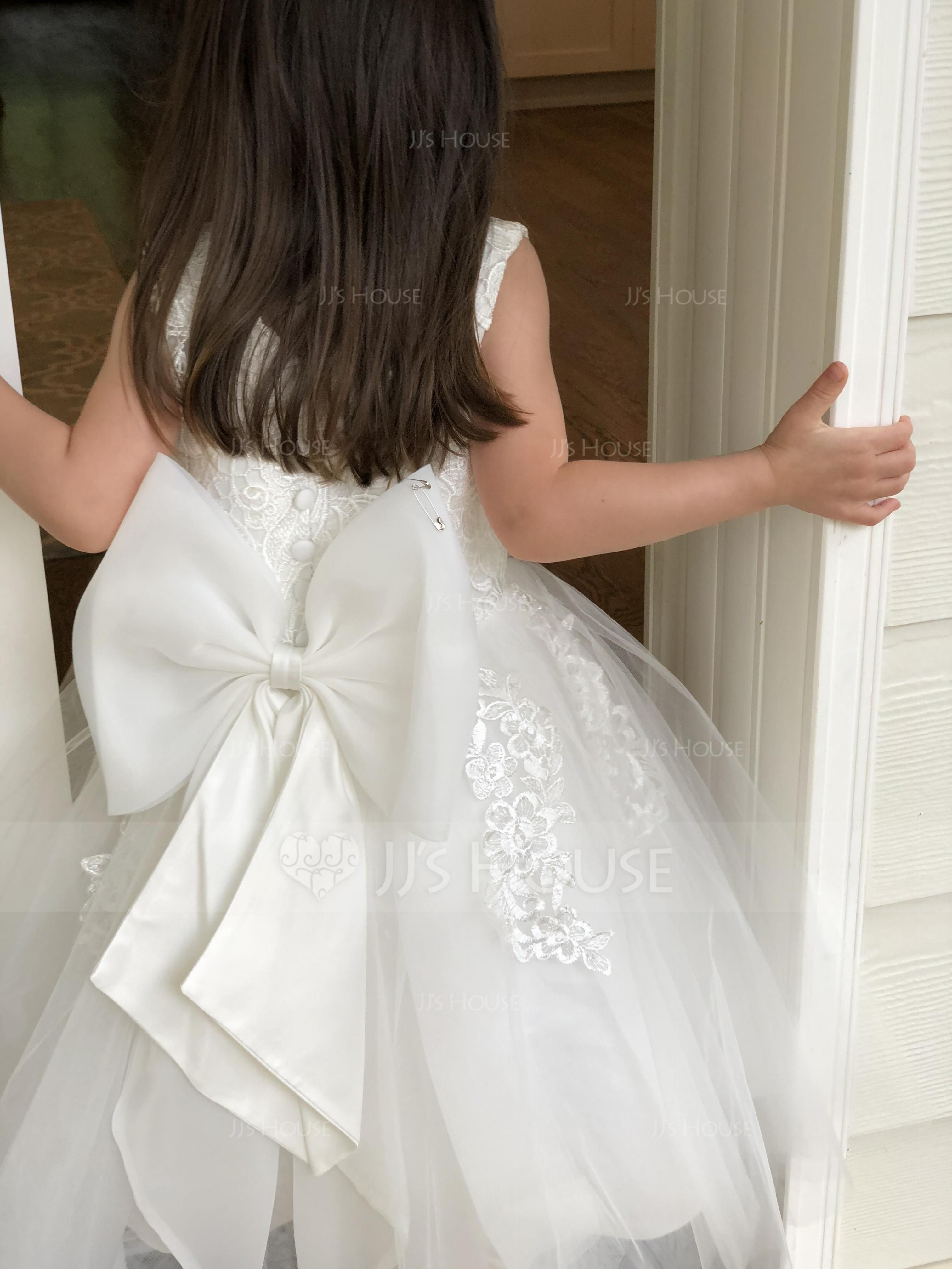 82987ff49 A-Line/Princess Knee-length Flower Girl Dress - Tulle/Lace Sleeveless Scoop  Neck With Lace/Bow(s) (010117689) - JJsHouse