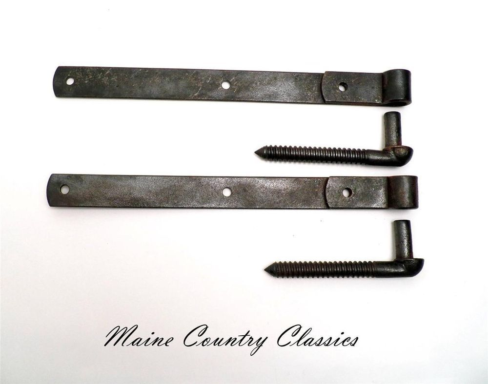 Barn door strap hinges - Pair Of Vintage 17 Inch Cast Iron Strap Hinges W Bolts Barn Door Gate