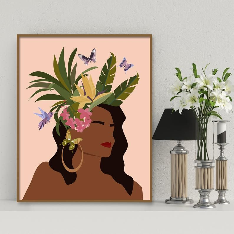 African American Women Art Black Girl Wall Art Black Woman Etsy Girls Wall Art Female Art Flower Wall Art