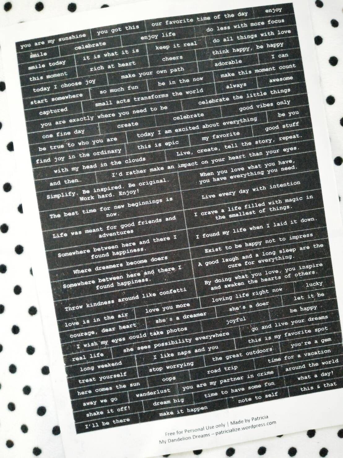 Free Printable Diy Words Stickers